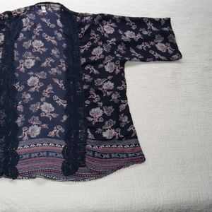 Xhilaration Sweaters - Crochet & Floral Open Front Cardigan